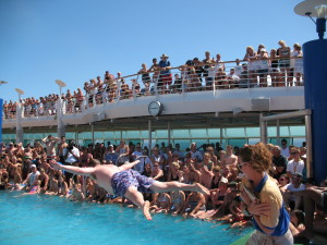 """Yours truly again, participating in the """"Men's International Belly-Flop Competition"""" aboard Royal Caribbean's Explorer of The Seas."""