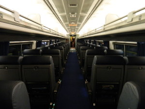 Amtrak's Amfleet II coaches are by the the most comfortable in the fleet. The seats are leather upholstered and fully recline.