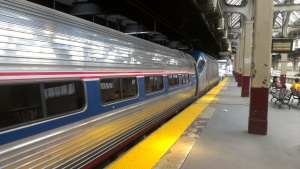 On all of Amtrak's Northeast Regional trains, the Business Class car is the very first car of the train. Here, HHP-8 electric engine #655 in charge of train #135 bound for Washington DC.