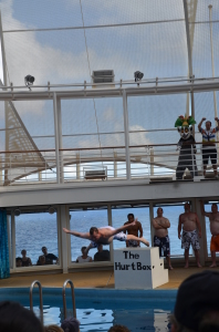 A Royal Caribbean cruise is an experience not to be passed up. Here, author David Kriso is participating in the Men's International Belly-flop Competition on board the Oasis of The Seas.