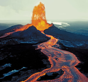The Big Island is home to many of Hawaii's famous volcanoes. Mauna Loa is located mid-island.