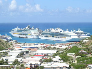 During the high season, the Philipsburg cruise ship pier is buzzing, with up to ten ships per day.
